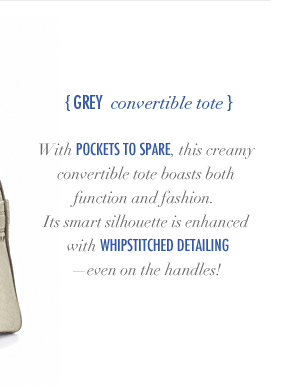 Grey Convertible Tote
