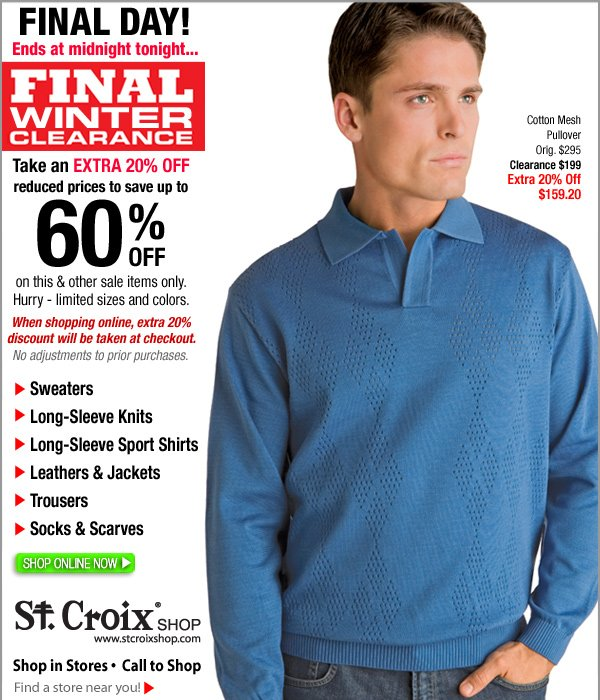 Shop St. Croix Final Clearance Now!