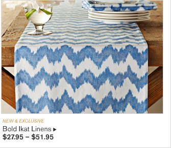 NEW & EXCLUSIVE -- Bold Ikat Linens, $27.95 – $51.95