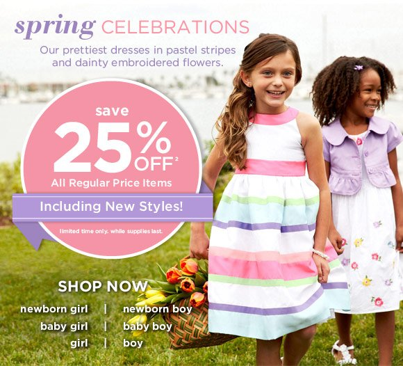 Spring Celebrations. Our prettiest dresses in pastel stripes and dainty embroidered flowers. Save 25% Off(2) All Regular Price Items. Including New Styles! Limited time only. While supplies last.