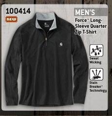 Carhartt 100414 Force Long Sleeve Quarter Zip T-Shirt