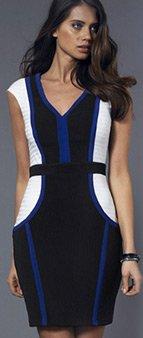 Colour Block Ribbed Bodycon Dress