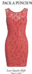Lace Sequin Shift Dress