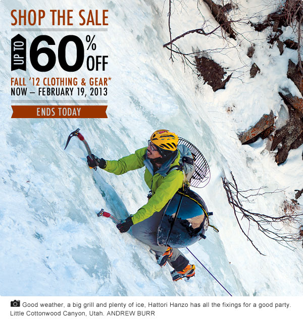 Up To 60 Percent Off Fall 2012 Clothing and Gear Ends Today