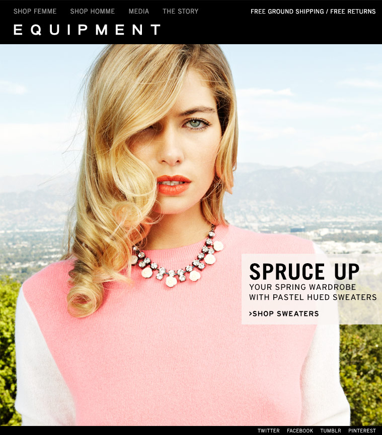 SPRUCE UP YOUR SPRING WARDROBE WITH PASTEL HUED SWEATERS >SHOP SWEATERS