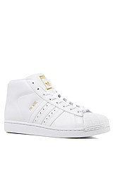 The Pro Model Leather Sneaker in White & Metallic Gold