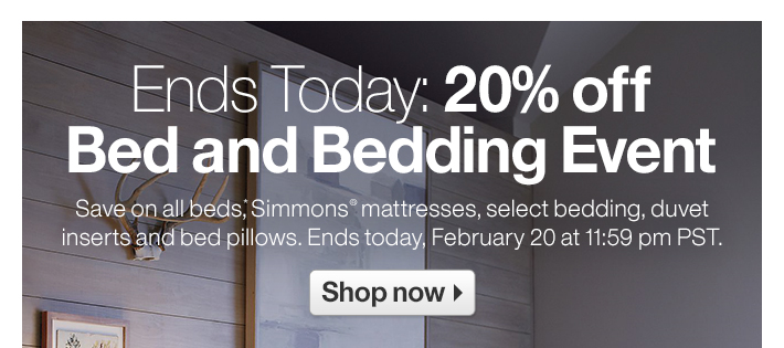 Ends Today: 20% off Bed and Bedding Event
