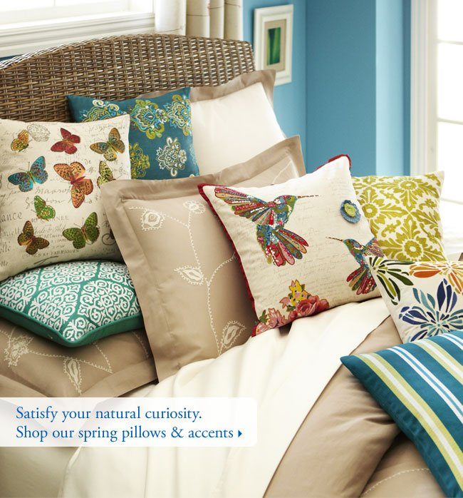 Satisfy your natural curiosity. Shop our spring pillows & accents