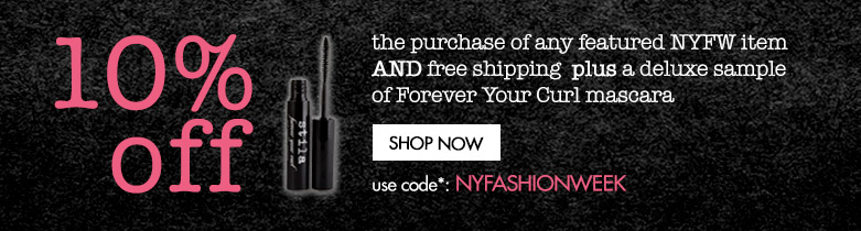 buy any featured item and get 10% off plus free shipping and deluxe mascara sample