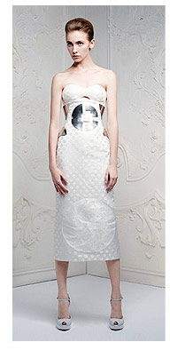 Shop the Ivory Bustier Monogram Spot Jacquard Dress