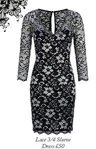 Lace 3/4 Sleeve Dress