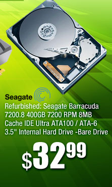 "Refurbished: Seagate Barracuda 7200.8 400GB 7200 RPM 8MB Cache IDE Ultra ATA100 / ATA-6 3.5"" Internal Hard Drive -Bare Drive"