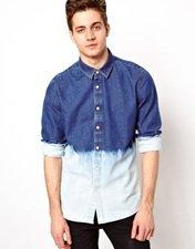 ASOS Denim Shirt With Dip Dye