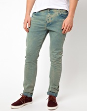 ASOS Skinny Jeans In Washed Green