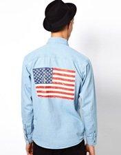 Vintage Denim Shirt with American Flag Back Panel