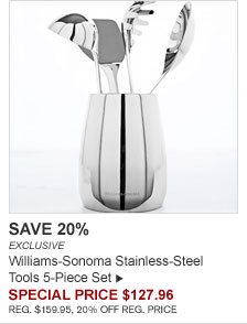 SAVE 20% - EXCLUSIVE - Williams-Sonoma Stainless-Steel Tools 5-Piece Set - SPECIAL PRICE $127.96 (REG. $159.95, 20% OFF REG. PRICE)