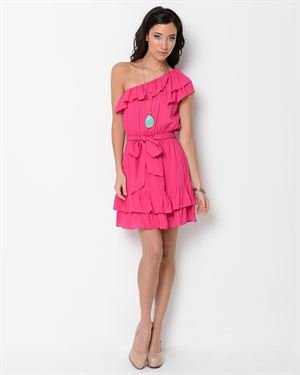 Picky Girl Ruffle Embellishment One-Sleeve Solid Color Dress $29