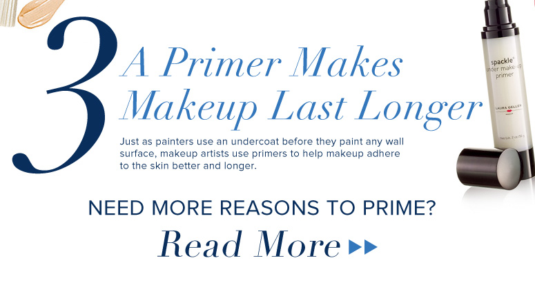3. A Primer Makes Makeup Last Longer Just as painters use an undercoat before they paint any wall surface, makeup artists use primers to help makeup adhere to the skin better and longer. Need more reasons to prime?  Read More>>