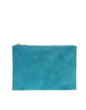 ASOS Leather And Faux Pony Zip Top Clutch Bag