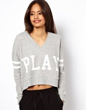 ASOS Sweatshirt with V Neck and Play Print