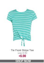 Tie Front Stripe Tee