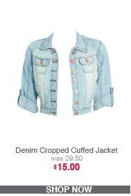 Denim Cropped Cuffed Jacket