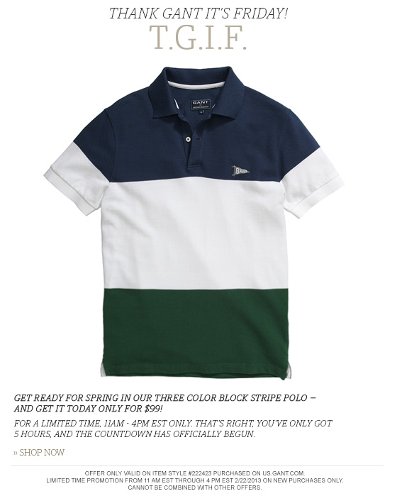 Gant by MB Block Stripe Polo - $99 Today Only!