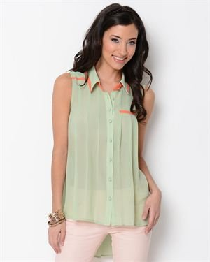 Esley Collared Pleat Blouse $35