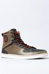 The Solano Sneaker in Military, Black, & Papaya