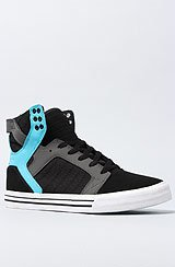 The Skytop Sneaker in Black Nubuck, Turquoise, & Grey Twill