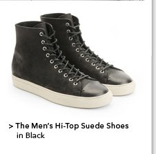 Men's Hi-Top Suede Shoes in Black