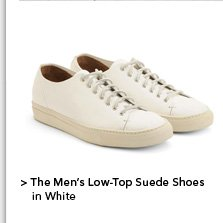 Men's Low-Top Suede Shoes in White