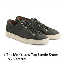 Men's Low-Top Suede Shoes in Gunmetal