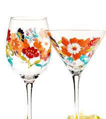 Hand-Painted Happy Floral Glassware $9 ea