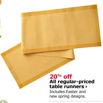 20% off All regular-priced table runners. Includes Easter and new spring designs.