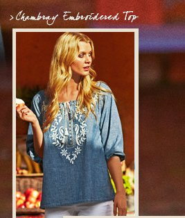 Chambray Embroidered Top