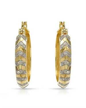 Ladies Earrings Designed In Two Tone Gold Plated Silver $25