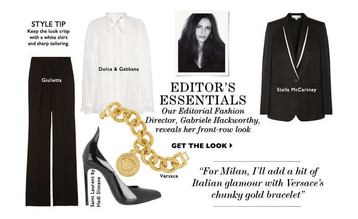 Editor's Essentials Our Editorial Fashion Director, Gabriele Hackworthy, reveals her front-row look GET THE LOOK