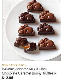 NEW & EXCLUSIVE - Williams-Sonoma Milk & Dark Chocolate Caramel Bunny Truffles, $12.95