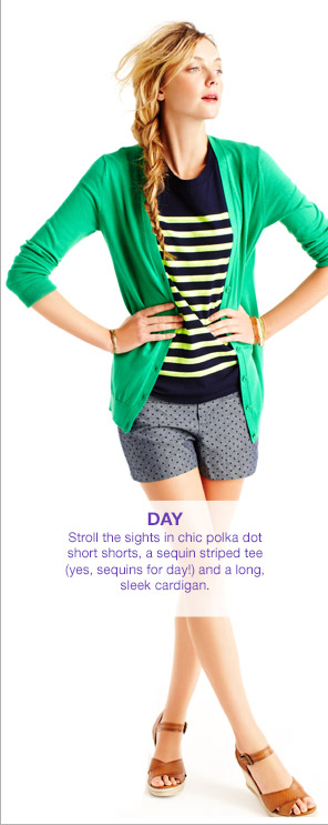 DAY | Stroll the sights in chic polka dot short shorts, a sequin striped tee (yes, sequins for day!) and a long, sleek cardigan.