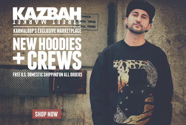 Free Shipping on New Hoodies and Crews from Karmaloop's Marketplace Kazbah! Shop Kazbah Now!