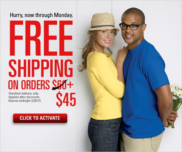 Free Shipping offer on orders $45+