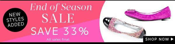 End of Season Sale - Save 33%