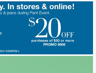 Save $50 off $100 or $20 off $50 Shop In Store or Online now!