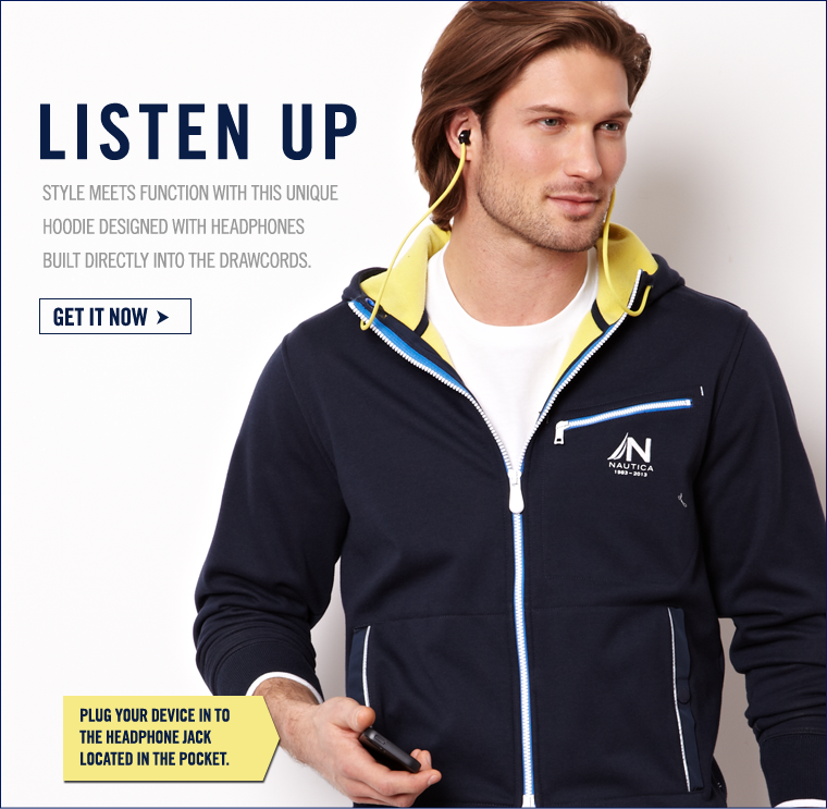 STYLE MEETS FUNCTION with this unique hoodie design with headphones built into the drawcords. GET IT NOW >