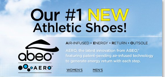 The future of footwear is here! Try ABEO AERO, our #1 NEW athletic shoes featuring patent-pending air-infused technology to generate energy return with each step. AERO features Vibram® outsoles for maximum grip, channeled air chambers for the ultimate comfort and more! Shop now for the best selection at The Walking Company.