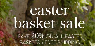 easter basket sale - SAVE 20% ON ALL EASTER BASKETS + FREE SHIPPING.