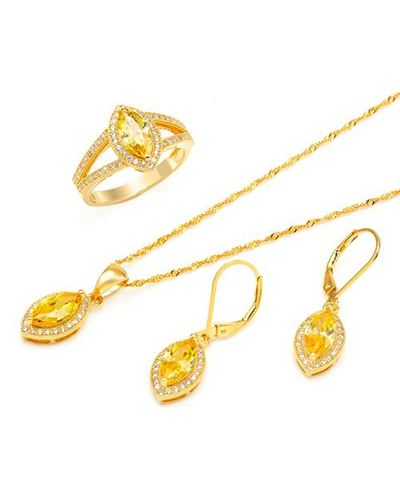 Ladies Jewelry Set Designed In Yellow Gold Plated Silver $129