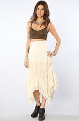 Free People Mixed Lace Skirt in Tea