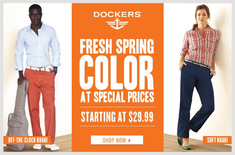 Save on the latest Dockers khakis and more in fresh spring colors, including styles starting at $29.99.